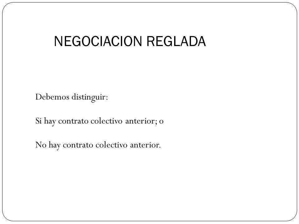 NEGOCIACION REGLADA Debemos distinguir: Si hay contrato colectivo anterior; o No hay contrato colectivo anterior.