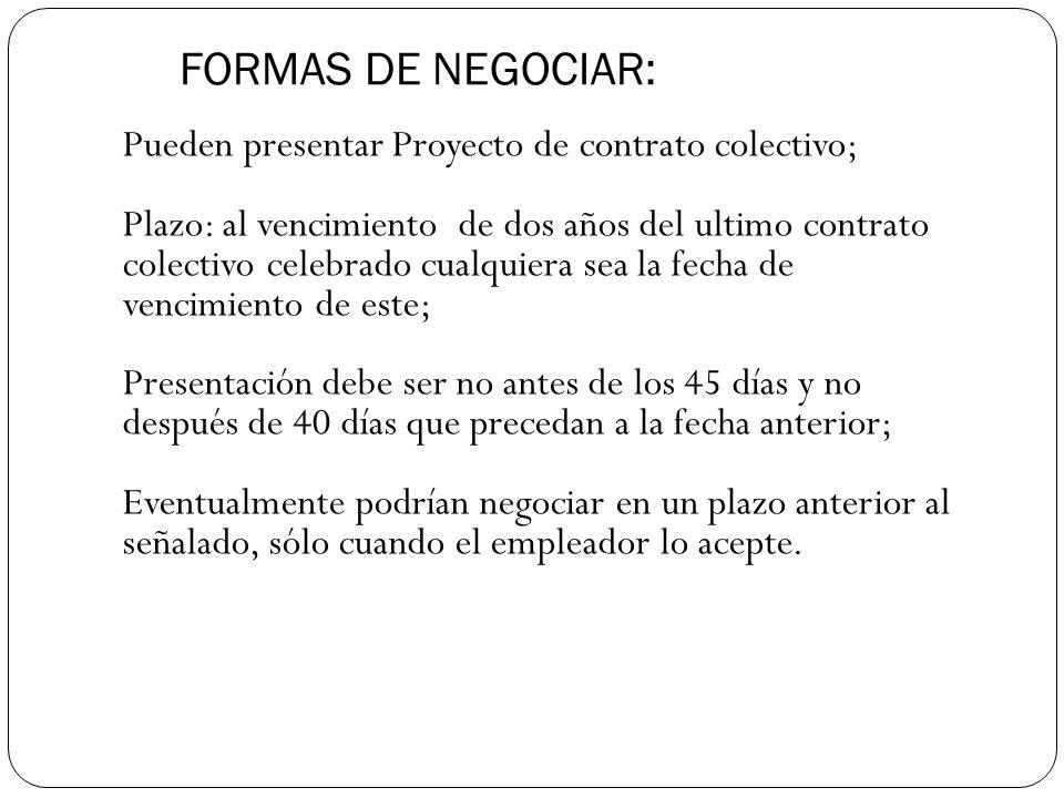 FORMAS DE NEGOCIAR: Pueden presentar Proyecto de contrato colectivo;