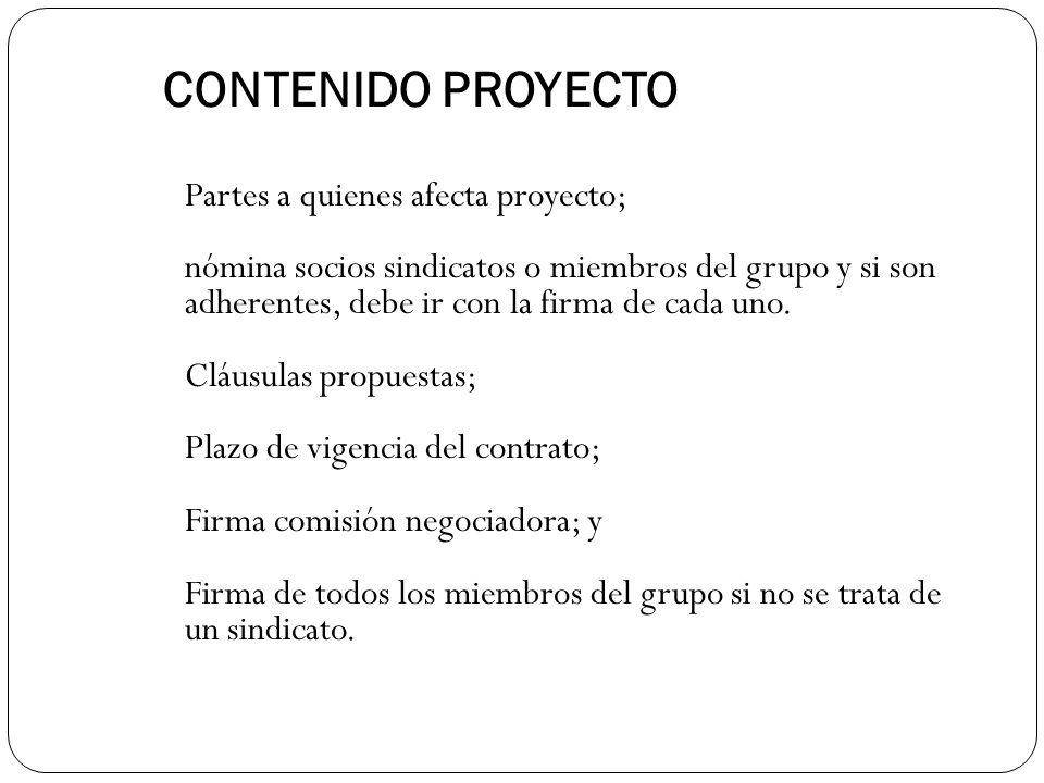CONTENIDO PROYECTO Partes a quienes afecta proyecto;