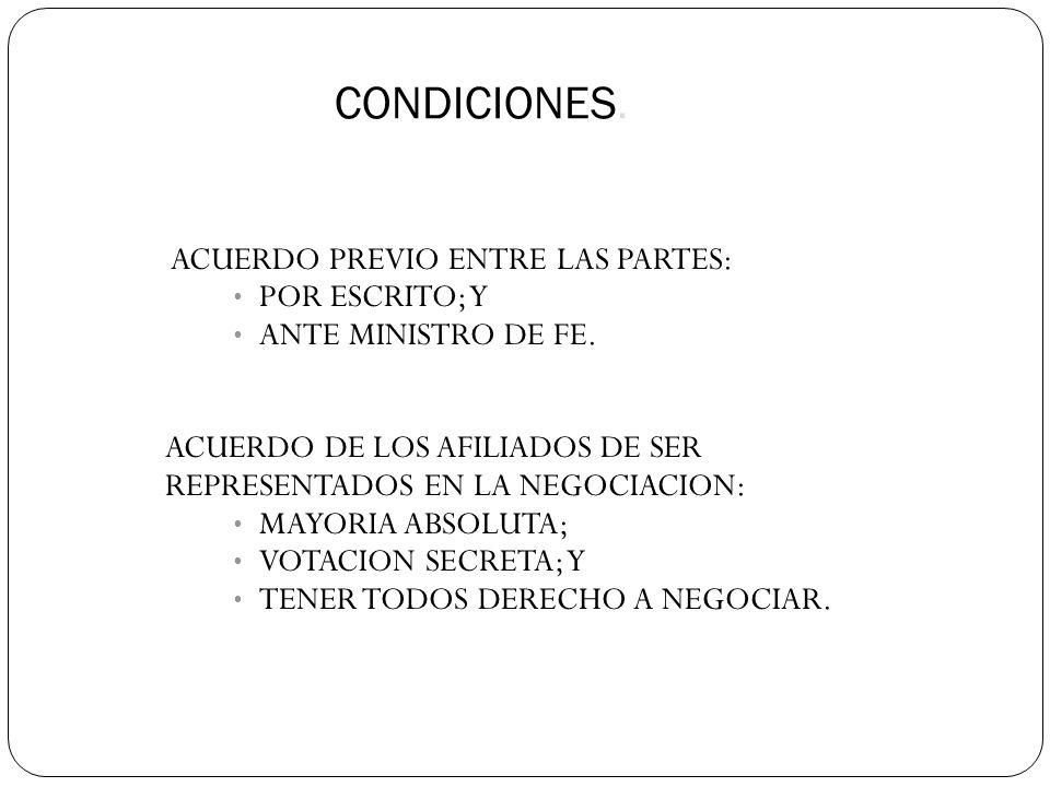 CONDICIONES. ACUERDO PREVIO ENTRE LAS PARTES: POR ESCRITO; Y