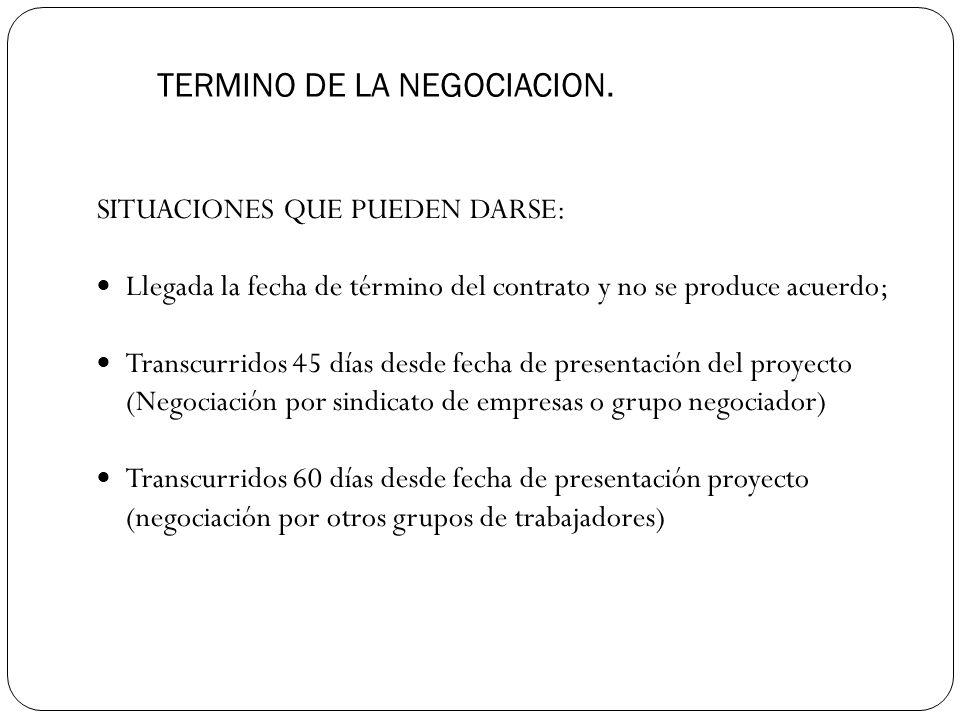 TERMINO DE LA NEGOCIACION.
