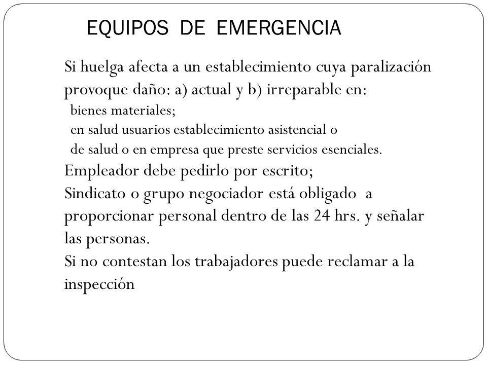 EQUIPOS DE EMERGENCIA Si huelga afecta a un establecimiento cuya paralización provoque daño: a) actual y b) irreparable en: