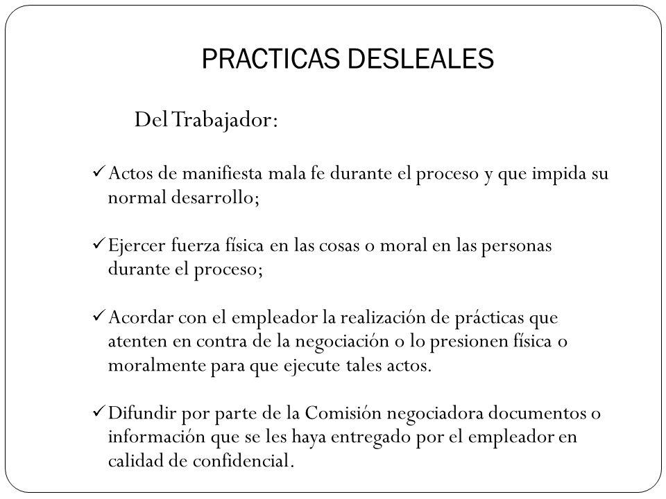 PRACTICAS DESLEALES Del Trabajador: