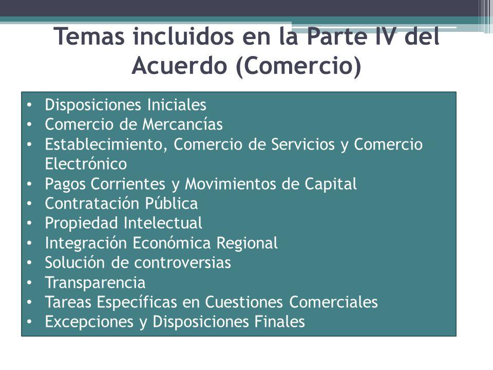 Temas incluidos en la Parte IV del Acuerdo (Comercio)