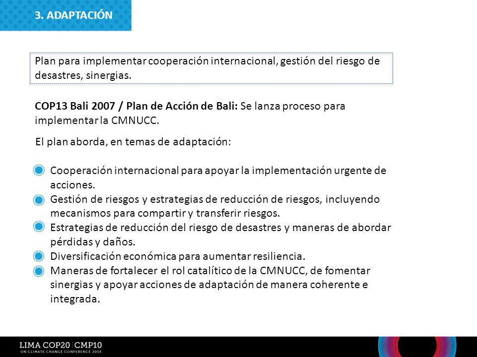 3. ADAPTACIÓN Plan para implementar cooperación internacional, gestión del riesgo de desastres, sinergias.