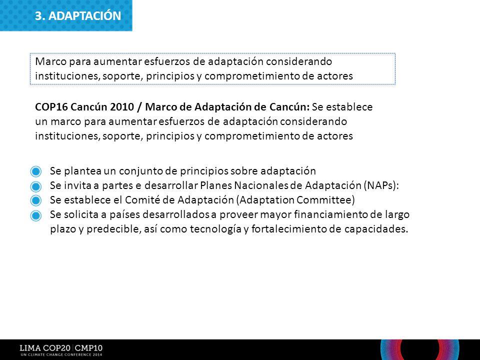 3. ADAPTACIÓN Marco para aumentar esfuerzos de adaptación considerando instituciones, soporte, principios y comprometimiento de actores.