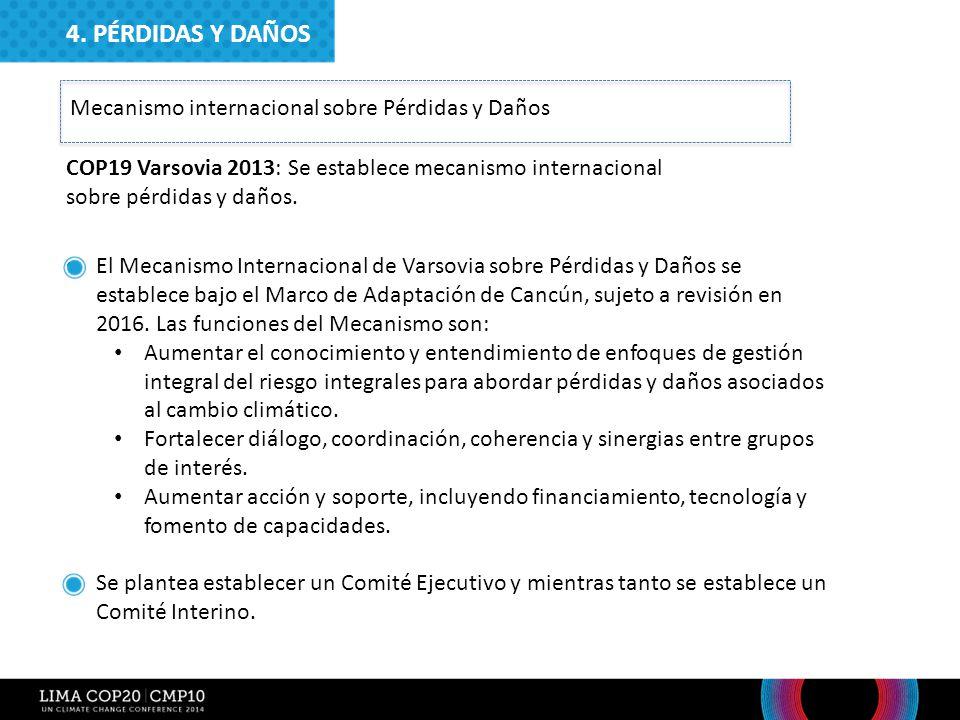4. PÉRDIDAS Y DAÑOS Mecanismo internacional sobre Pérdidas y Daños