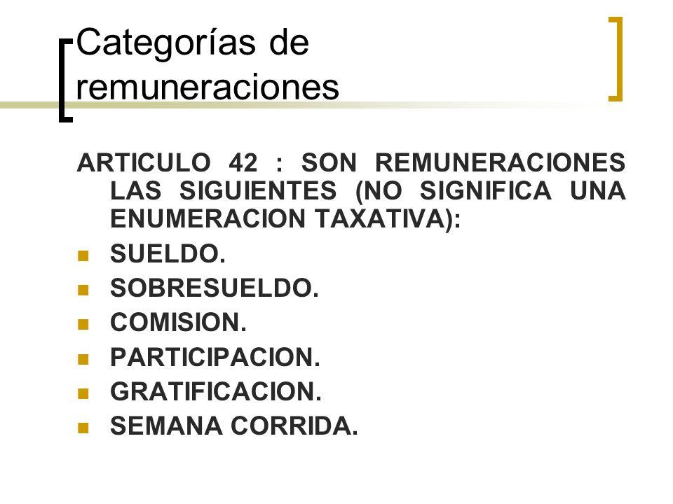 Categorías de remuneraciones