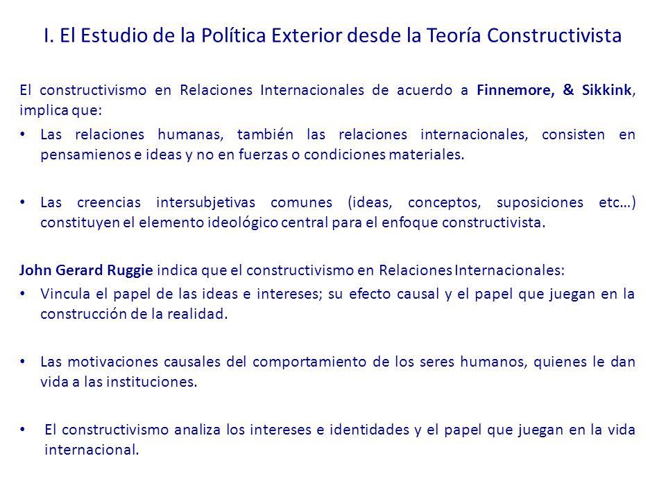 I. El Estudio de la Política Exterior desde la Teoría Constructivista