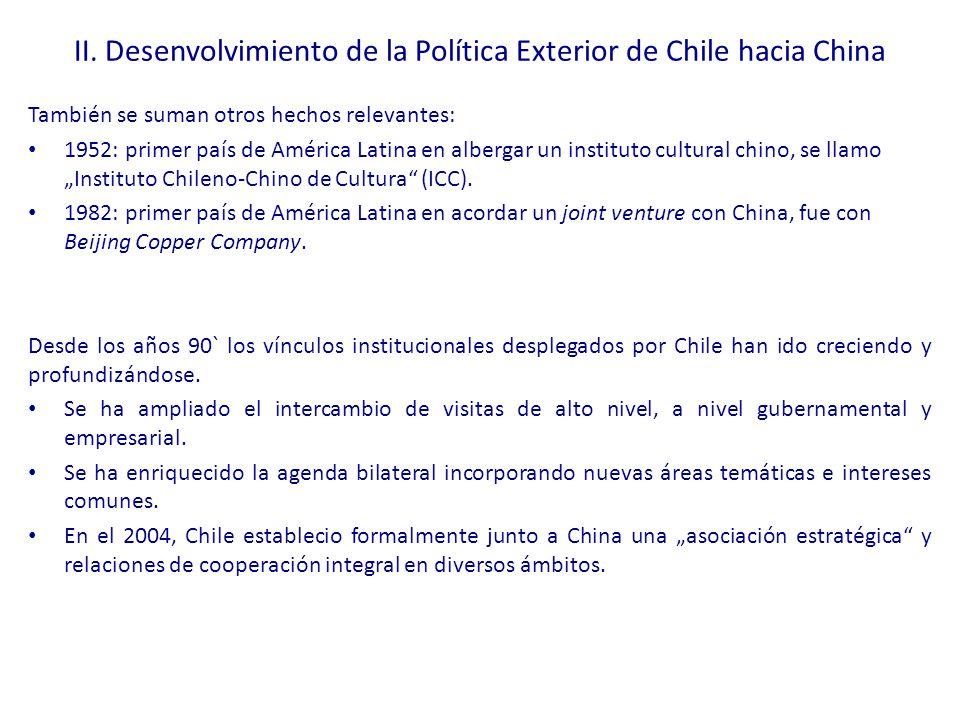 II. Desenvolvimiento de la Política Exterior de Chile hacia China
