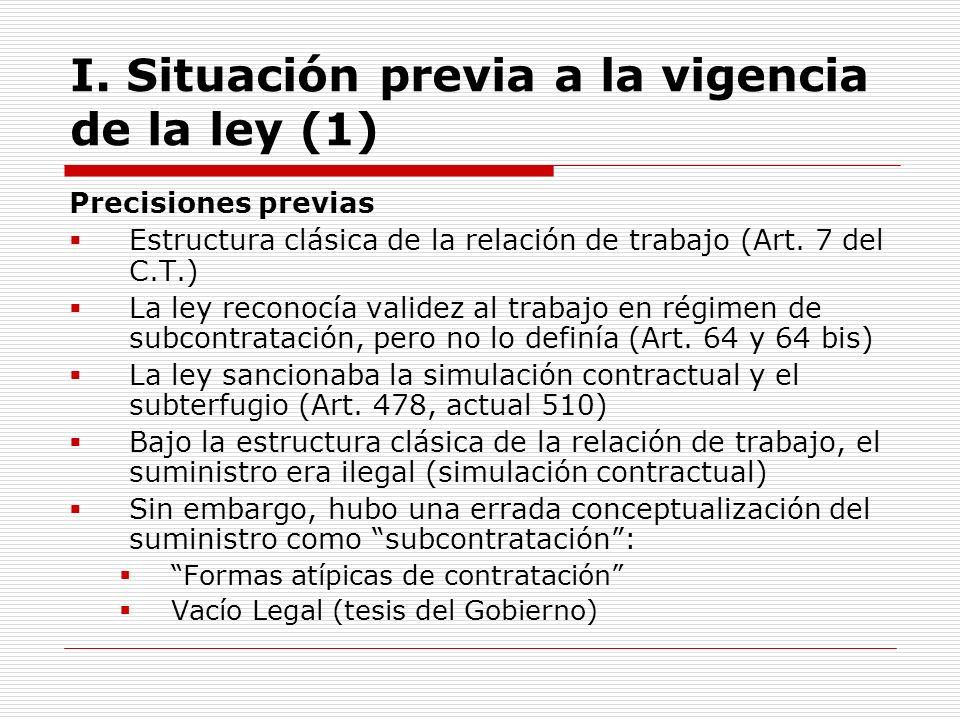I. Situación previa a la vigencia de la ley (1)