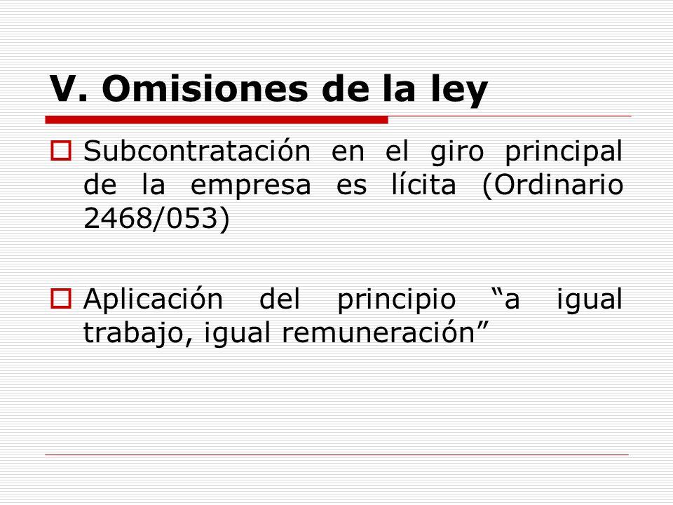 V. Omisiones de la leySubcontratación en el giro principal de la empresa es lícita (Ordinario 2468/053)