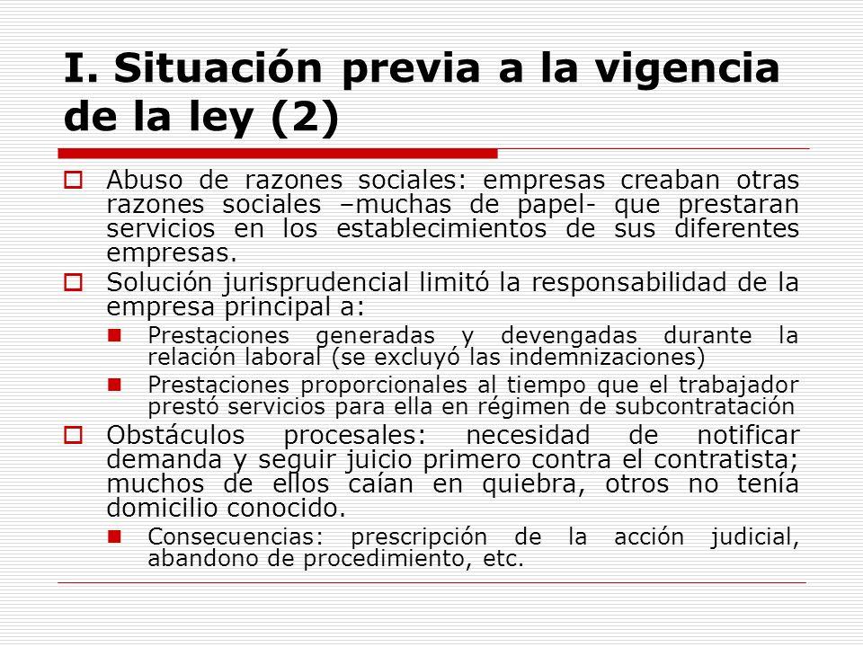 I. Situación previa a la vigencia de la ley (2)