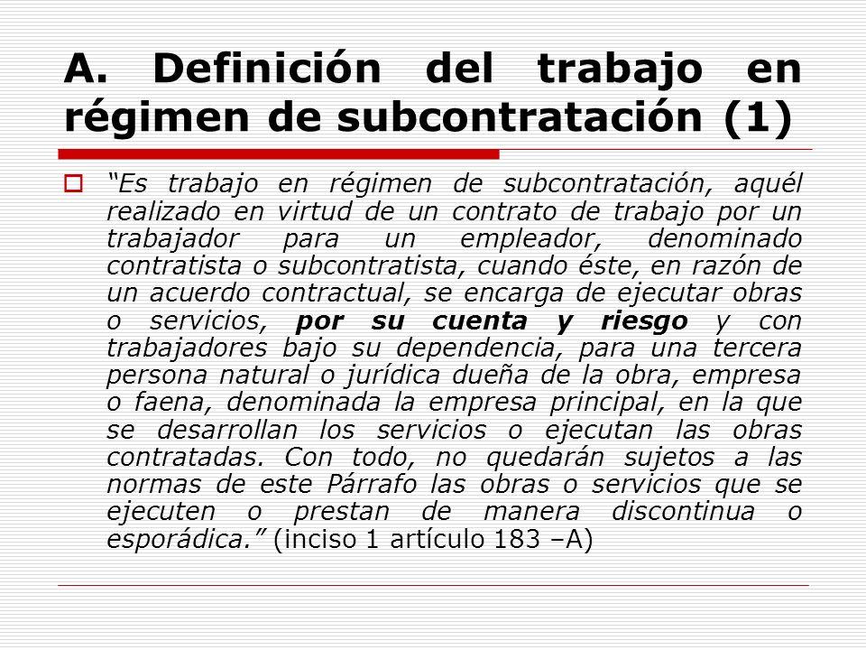A. Definición del trabajo en régimen de subcontratación (1)