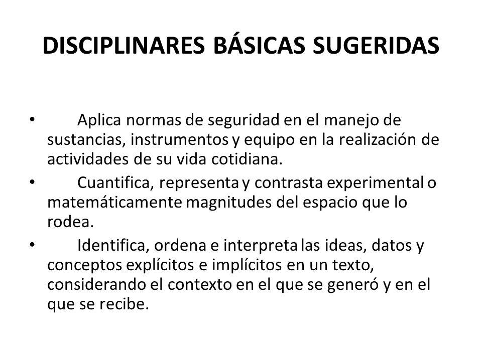 DISCIPLINARES BÁSICAS SUGERIDAS