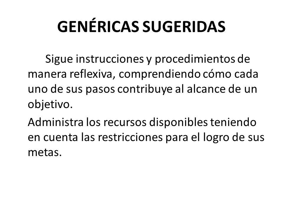 GENÉRICAS SUGERIDAS