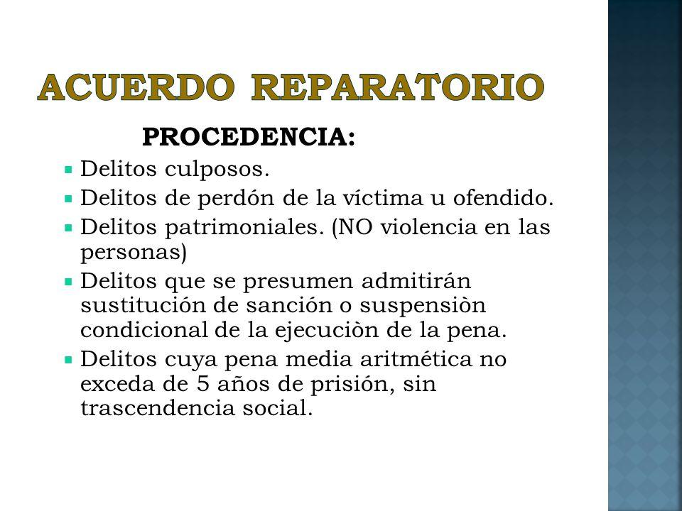 ACUERDO REPARATORIO PROCEDENCIA: Delitos culposos.