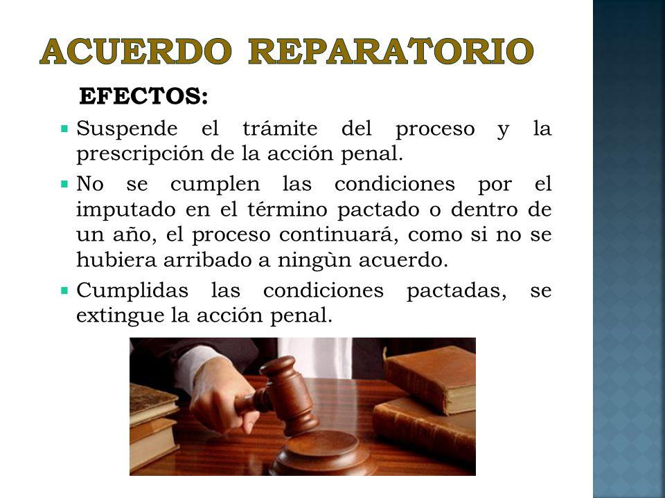 ACUERDO REPARATORIO EFECTOS: