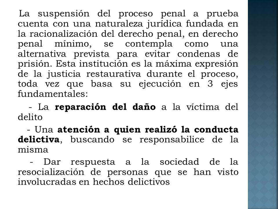- La reparación del daño a la víctima del delito