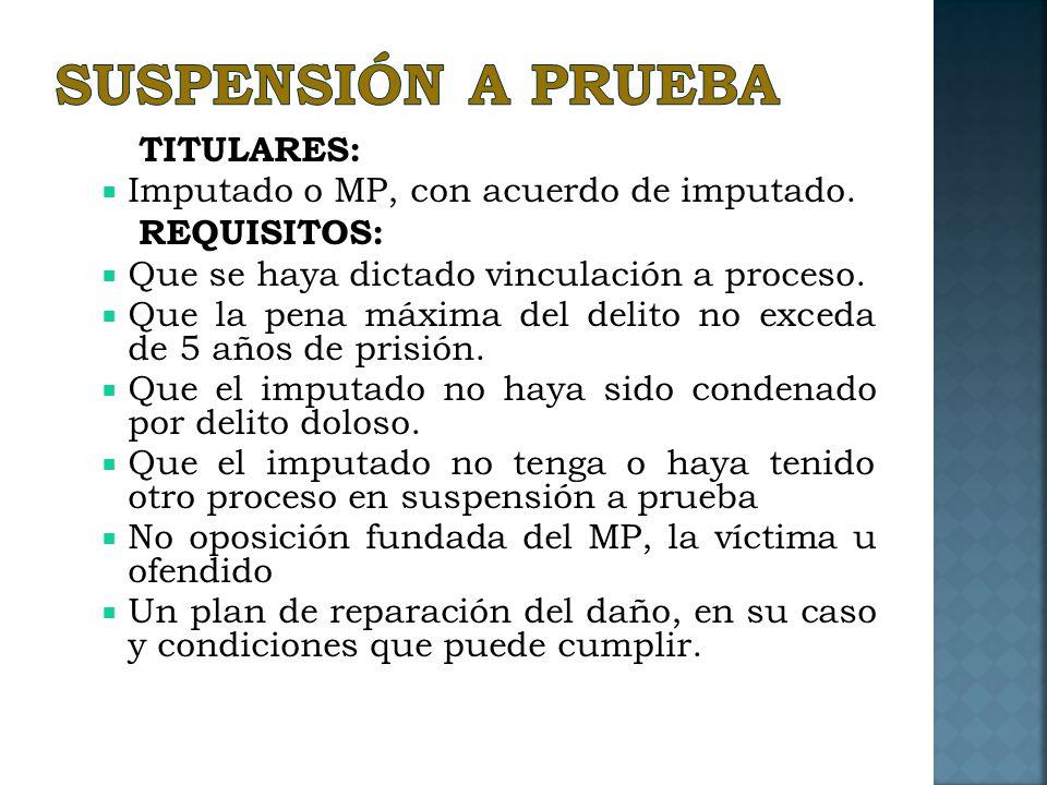 SUSPENSIÓN A PRUEBA TITULARES: Imputado o MP, con acuerdo de imputado.