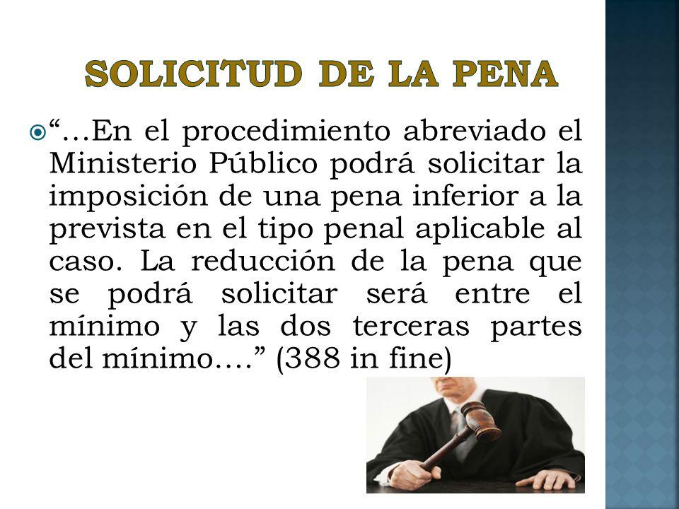 SOLICITUD DE LA PENA