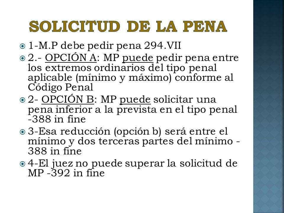 SOLICITUD DE LA PENA 1-M.P debe pedir pena 294.VII