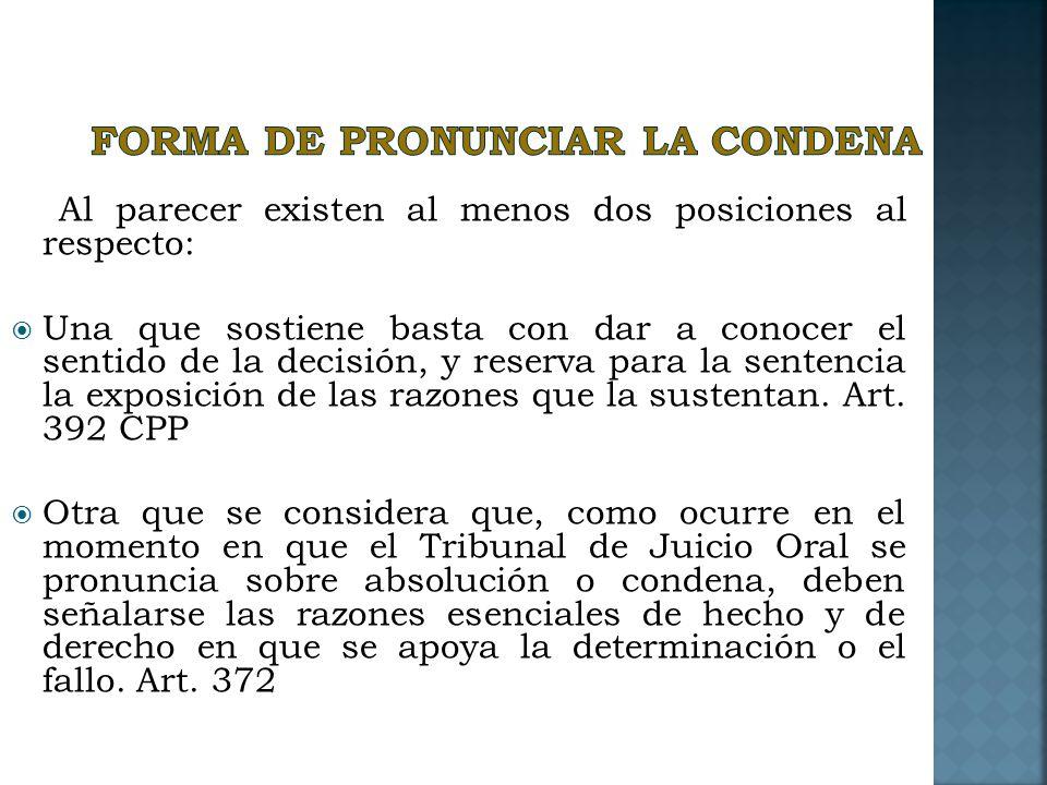 FORMA DE PRONUNCIAR LA CONDENA