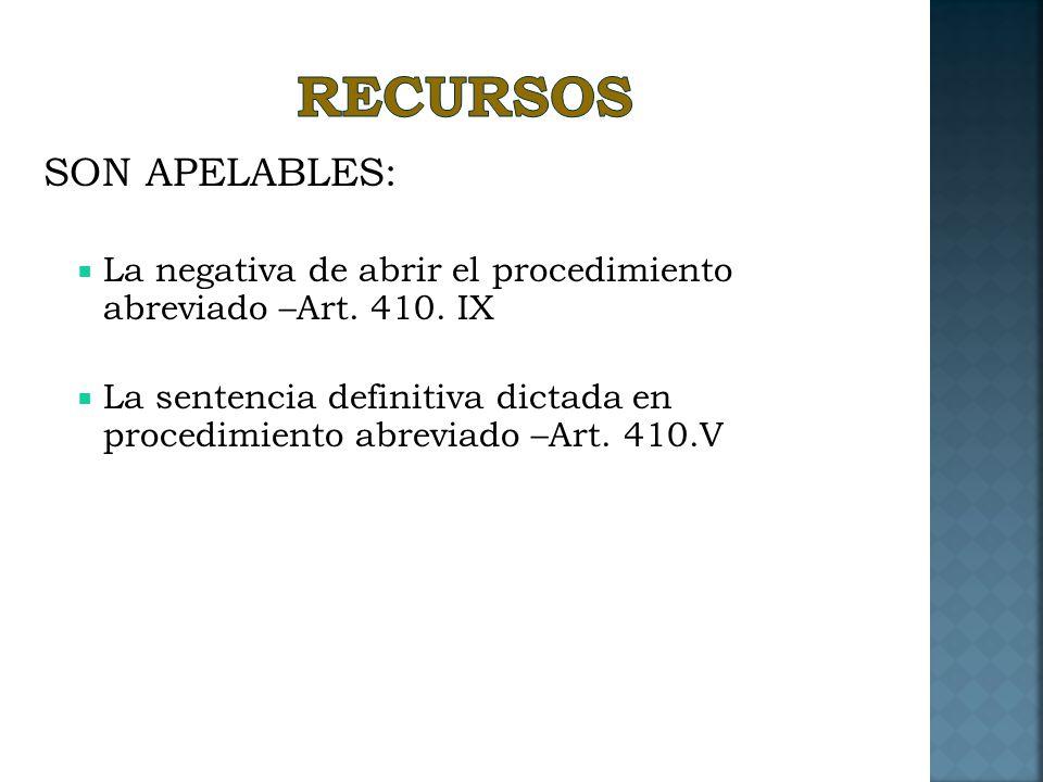 RECURSOS SON APELABLES: