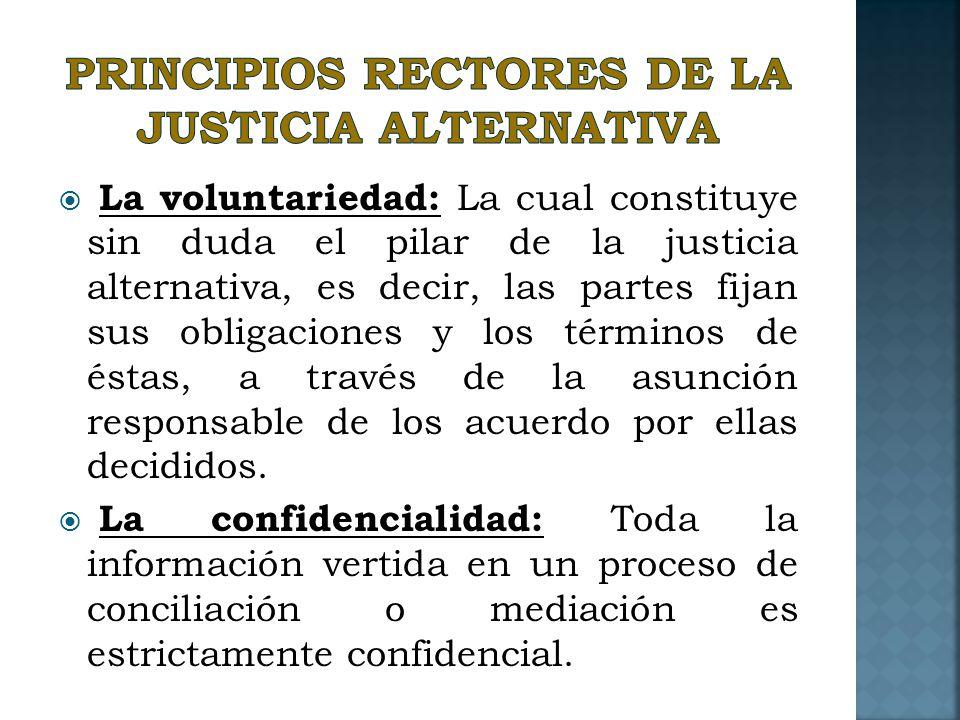 Principios rectores de la justicia alternativa
