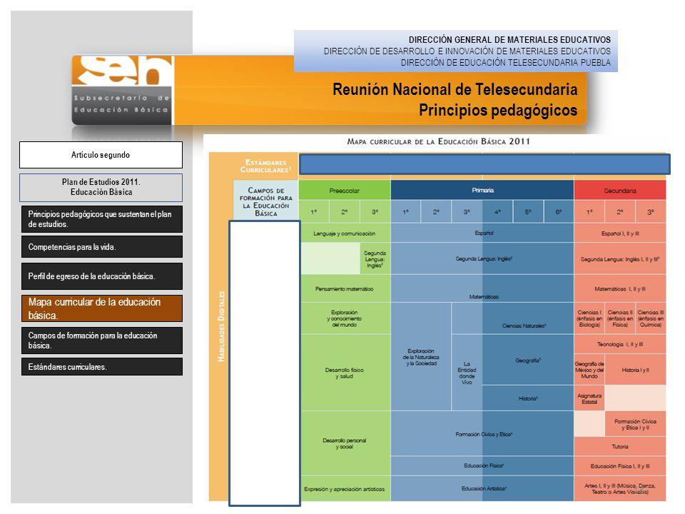Reunión Nacional de Telesecundaria Principios pedagógicos