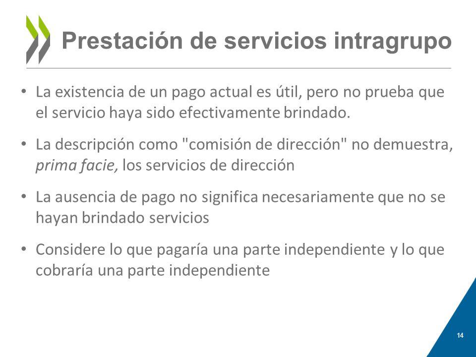Prestación de servicios intragrupo