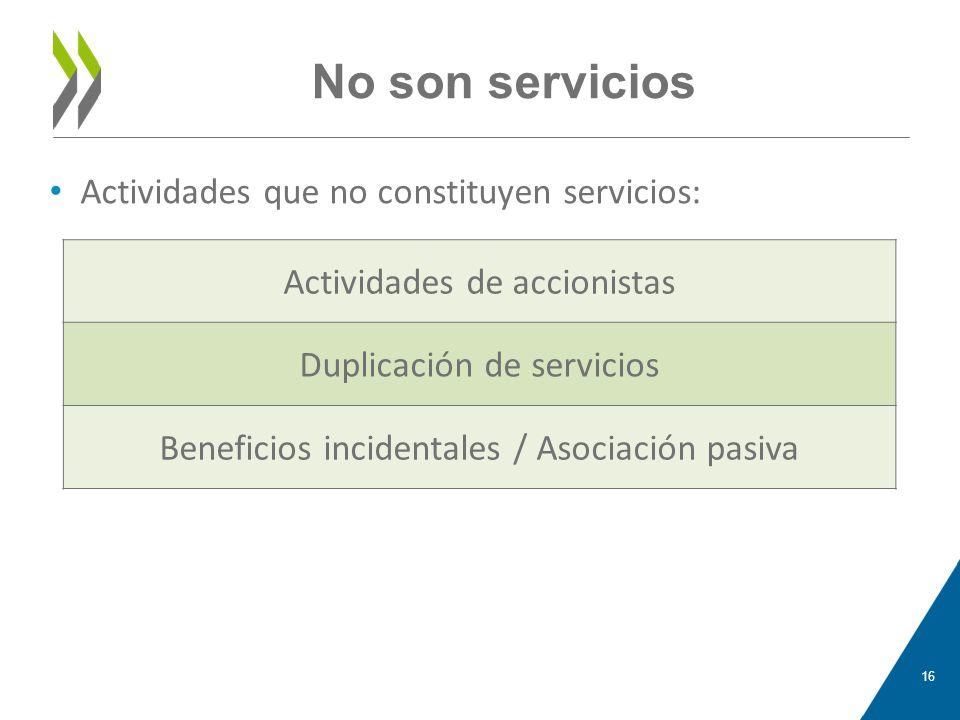 No son servicios Actividades de accionistas Duplicación de servicios