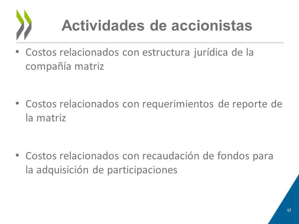 Actividades de accionistas