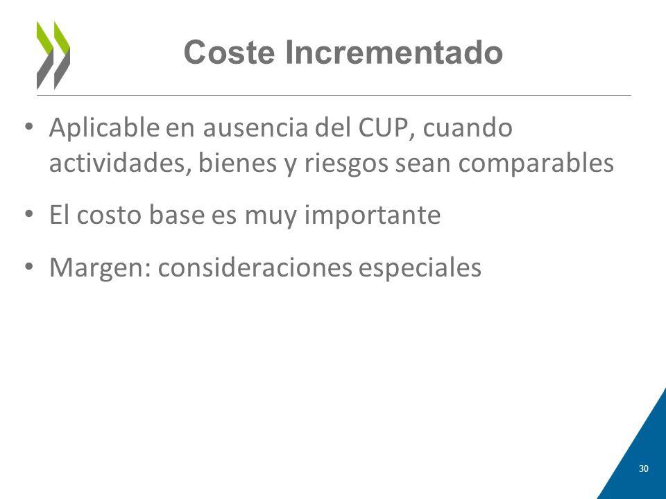 Coste Incrementado Aplicable en ausencia del CUP, cuando actividades, bienes y riesgos sean comparables.