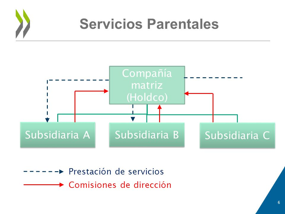 Servicios Parentales Compañía matriz (Holdco) Subsidiaria A