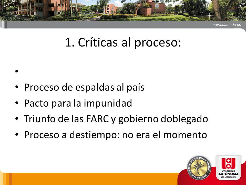 1. Críticas al proceso: Proceso de espaldas al país