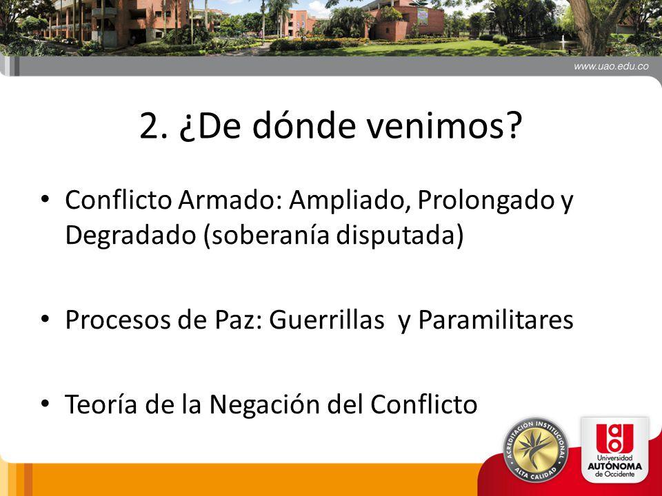 2. ¿De dónde venimos Conflicto Armado: Ampliado, Prolongado y Degradado (soberanía disputada) Procesos de Paz: Guerrillas y Paramilitares.