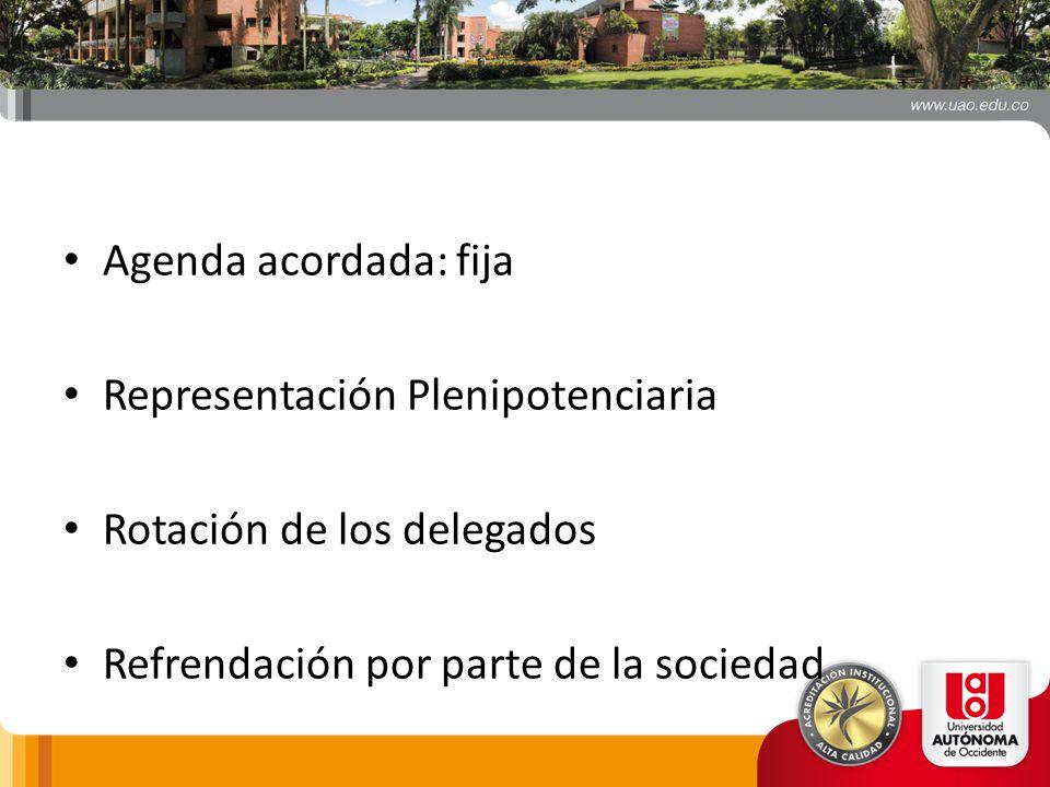 Agenda acordada: fija Representación Plenipotenciaria.