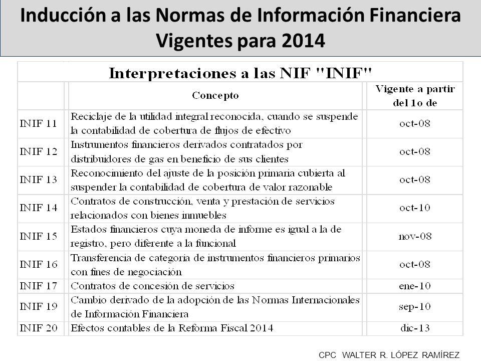 « Inducción a las Normas de Información Financiera Vigentes para 2014