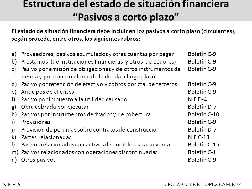 Estructura del estado de situación financiera Pasivos a corto plazo