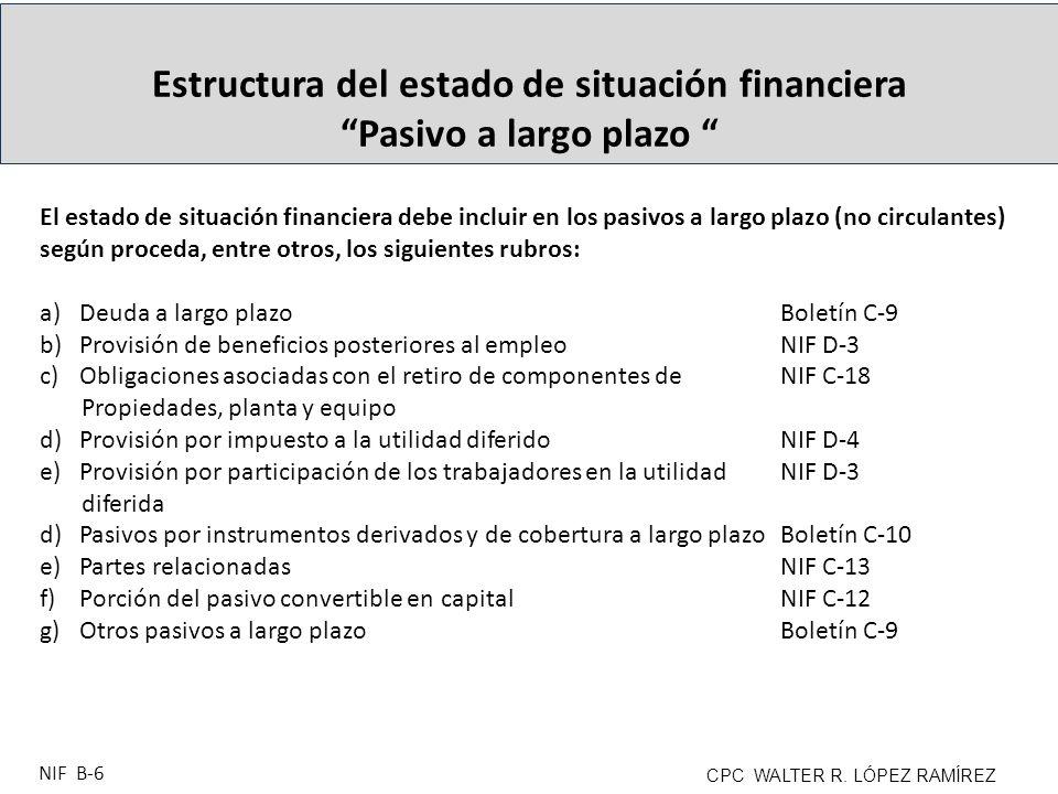 Estructura del estado de situación financiera Pasivo a largo plazo