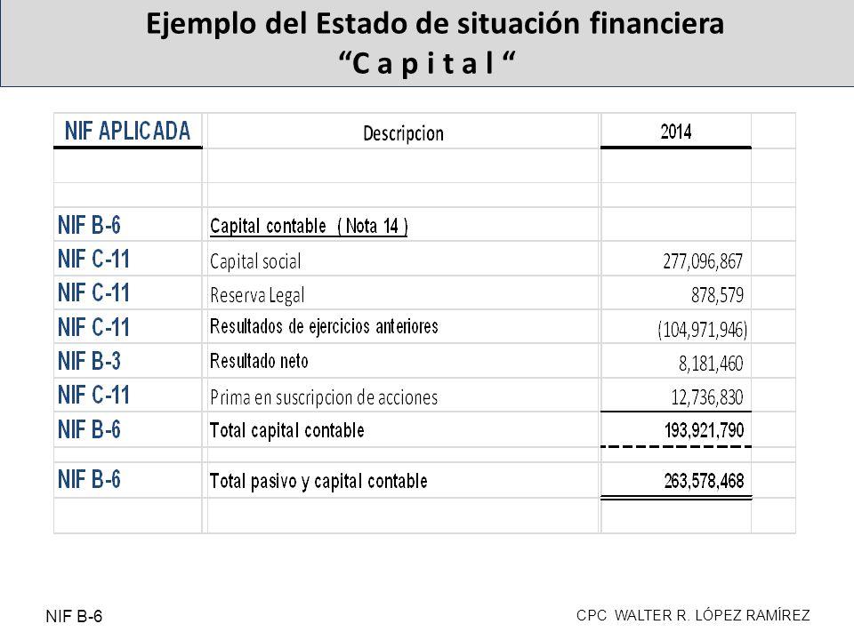 Ejemplo del Estado de situación financiera C a p i t a l