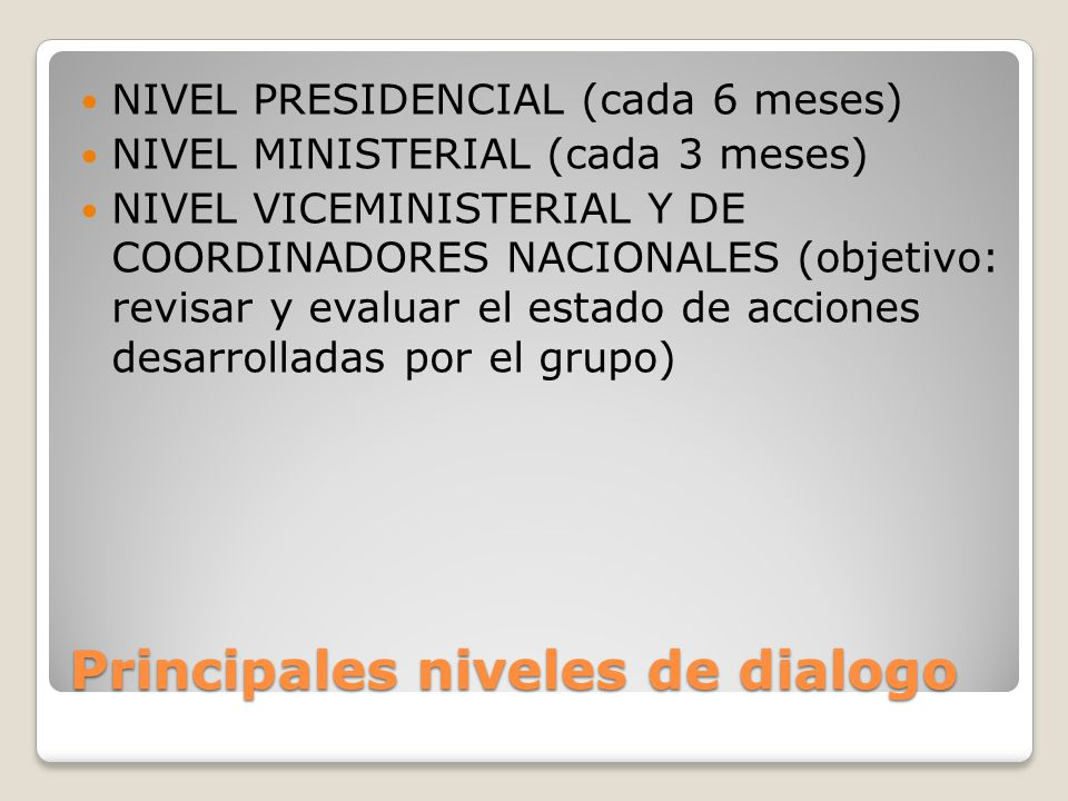 Principales niveles de dialogo