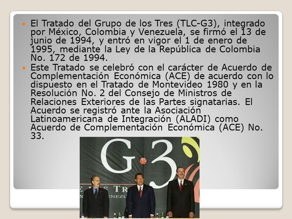 El Tratado del Grupo de los Tres (TLC-G3), integrado por México, Colombia y Venezuela, se firmó el 13 de junio de 1994, y entró en vigor el 1 de enero de 1995, mediante la Ley de la República de Colombia No. 172 de 1994.