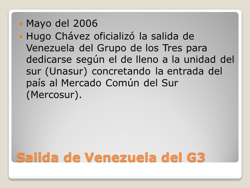 Salida de Venezuela del G3