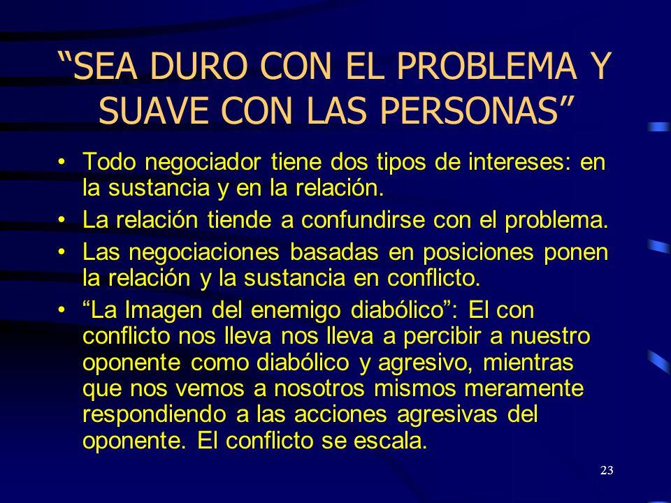 SEA DURO CON EL PROBLEMA Y SUAVE CON LAS PERSONAS