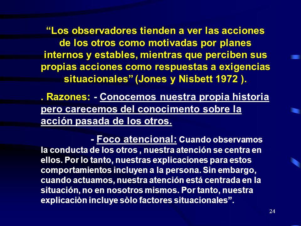 Los observadores tienden a ver las acciones de los otros como motivadas por planes internos y estables, mientras que perciben sus propias acciones como respuestas a exigencias situacionales (Jones y Nisbett 1972 ).