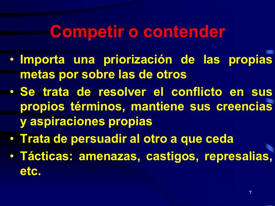 Competir o contender Importa una priorización de las propias metas por sobre las de otros.