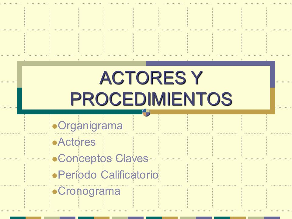 ACTORES Y PROCEDIMIENTOS