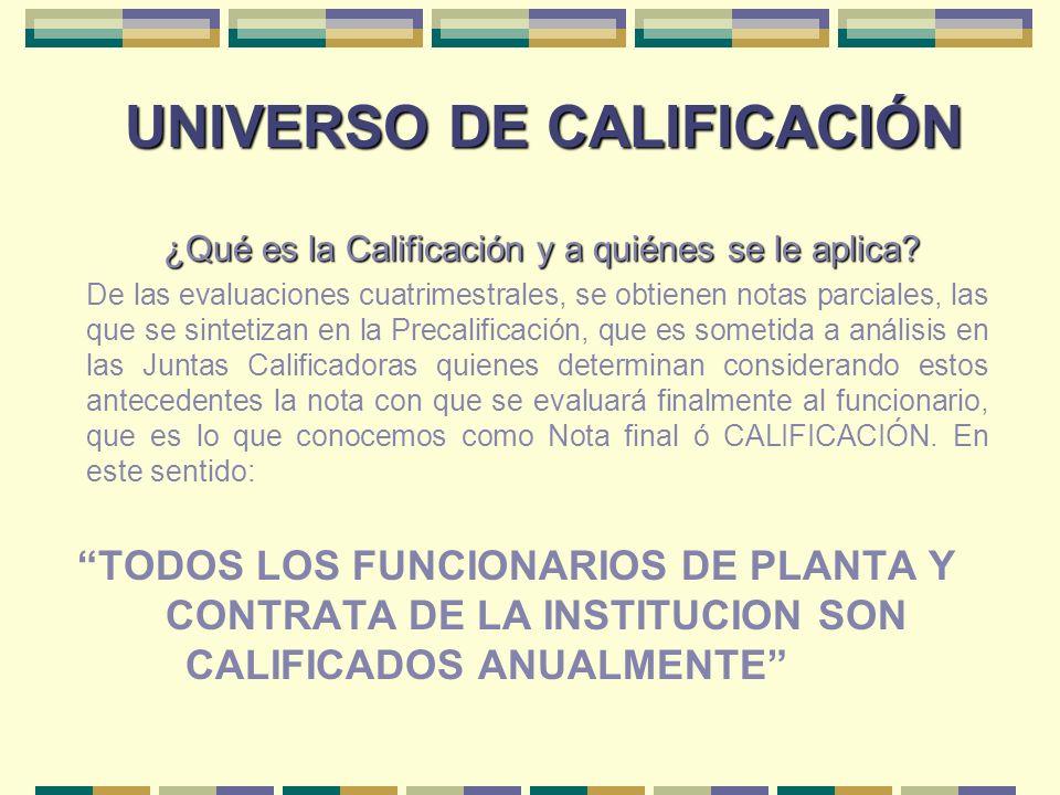 UNIVERSO DE CALIFICACIÓN